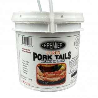 Premier Cured Pork Tails 5lb In a Bucket Packed In Brine